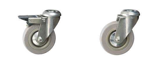 Bolt Hole Fitting - Economy Range Castors: Grey Rubber Tyred Wheel