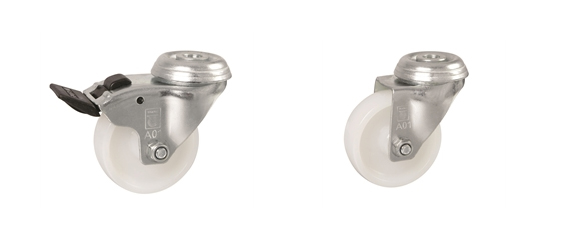 Bolt Hole Fitting - Institutional Castors: White Nylon Wheel