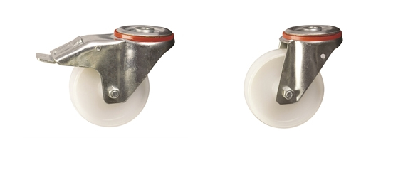Bolt Hole Fitting - Medium Duty Pressed Steel Castors: Nylon Wheel