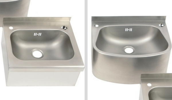 Descaled Finish Stainless Steel Wall Mounted Wash Hand Basins