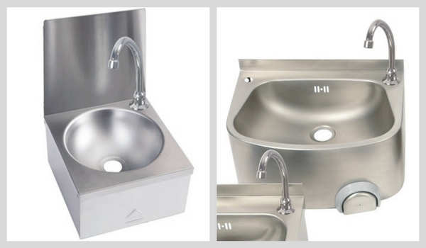 Knee Operated Stainless Steel Wall Mounted Wash Hand Basins
