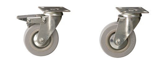 Plate Fitting - Economy Range Castors: Grey Rubber Tyred Wheel