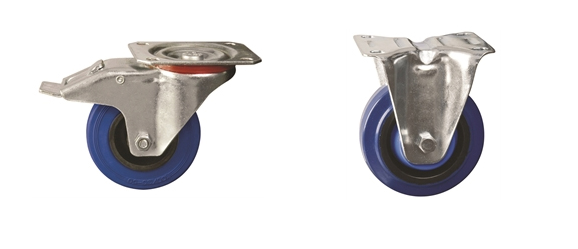 Plate Fitting - Medium Duty Castors: Elastic Rubber Tyre Nylon Centre
