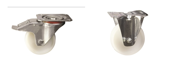Plate Fitting - Medium Duty Pressed Steel Castors: Nylon Wheel