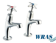 Chrome Plated Pillar Taps with Crossheads - WRAS
