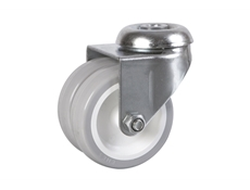 Twin Wheel Light Duty - Industrial Range Castors - Grey PVC Tyre