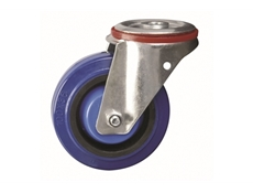 Medium Duty Pressed Steel Castors -  Elastic Rubber Tyre Nylon Centre