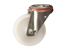 Bolt Hole Fitting - Pressed Steel Castors - Nylon Wheel