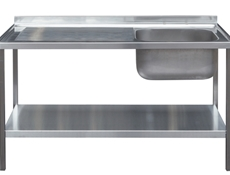 Commercial Sink Unit - 1200 x 600 Single Bowl, Single Drainer