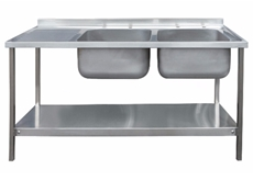 Commercial Sink Unit - 1500 x 600 Double Bowl, Single Drainer