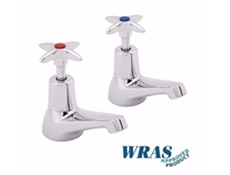 "Chrome Plated Basin Taps with Crossheads - 1/2"" - WRAS Approved"