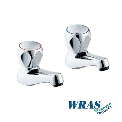 "Chrome Plated Basin Taps with Tricon Heads - 1/2"" - WRAS Approved - Die Pat"