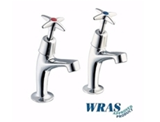 "Chrome Plated Pillar Taps with 1/2"" Crossheads - WRAS"