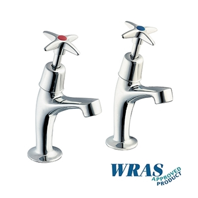 "Chrome Plated Pillar Taps with 1/2"" Crossheads - WRAS - Die Pat"