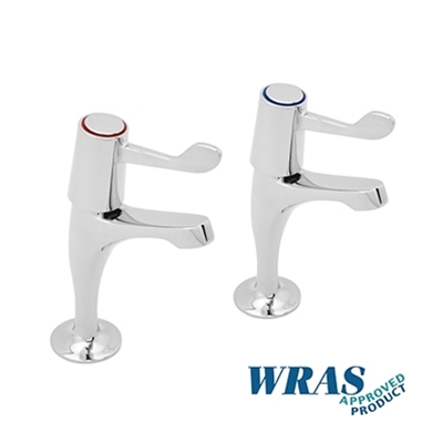 "Chrome Plated Pillar Taps with 3"" Levers - WRAS Approved - Die Pat"