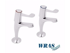"Chrome Plated Pillar Taps with 6"" Levers - WRAS Approved"