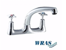 "Sink Mixer Tap with Crossheads - 7"" Bi-Flow Swivel Spout - 1/2"" - Chrome Plated & WRAS Approved"