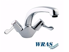"Chrome Plated Monoblock Mixer Tap with 8"" Bi-Flow Swivel Spout - 3"" Levelers - WRAS Approved"
