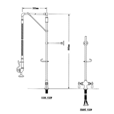 Pre-Rinse Unit - H2O - Straight arm - Single deck mounted - With heavy duty swivel arm support - Die Pat