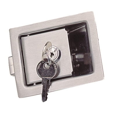Recessed Paddle Latch - Heavy duty stainless steel - With lock - 84 x 68 mm - Die Pat