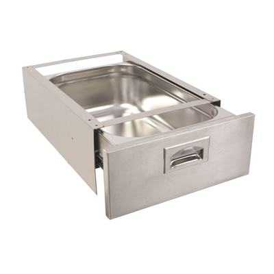 Under Table Drawer - 1/1 150mm deep stainless steel - 165 x 390 x 530 mm - P631012 pull - Die Pat