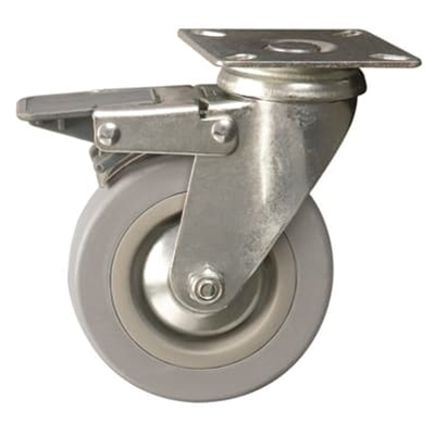 75mm dia. Grey Wheel - 60kg load capacity - Plate fitting - Braked - Die Pat