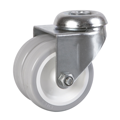 75mm dia. Wheel - 80kg load capacity - Bolt Hole Fitting - Swivel - Die Pat