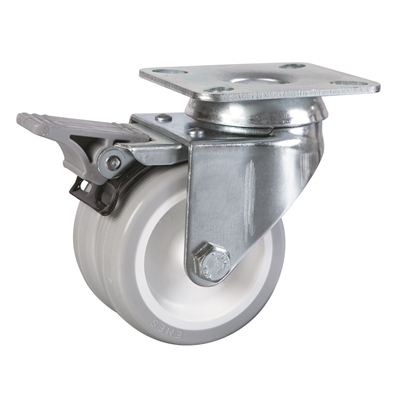 50mm dia. Wheel - 55kg load capacity - Plate Fitting - Braked - Die Pat