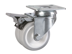 75mm dia. Wheel - 80kg load capacity - Plate Fitting - Braked