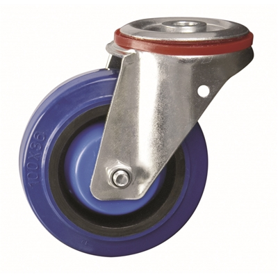 100mm dia. Wheel Elastic Rubber - 200kg - Bolt Hole - Swivel  - Die Pat