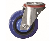 200mm dia. Wheel Elastic Rubber - 400kg - Bolt Hole - Swivel