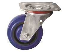 125mm dia. Wheel Elastic Rubber - 200kg - Plate Fitting - Swivel
