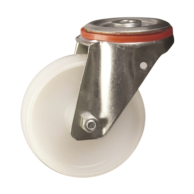 100mm dia. Nylon Wheel - 200kg - Bolt Hole - Swivel  - Die Pat