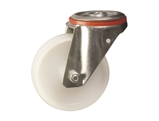 125mm dia. Nylon Wheel - 200kg - Bolt Hole - Swivel