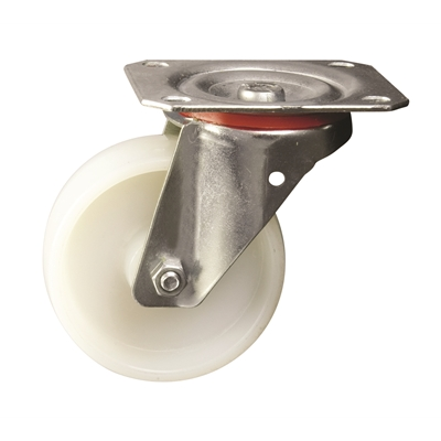 125mm dia. Nylon Wheel - 200kg - Plate Fitting - Swivel  - Die Pat