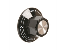 Black control knob  - 41mm dia. - Marking 0-1-2-3