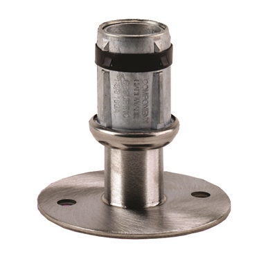 Foot Insert - Flanged Adjustable - 32mm I.P.S. Pipe or 38mm Round Tubing - Mounting Holes - S/S - Die Pat