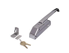 Mechanical Edge-Mounted Latch - R35 Series Chrome-plated - Straight handle with cylinder lock