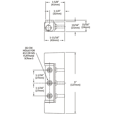 "Non-Rise Adjustable Refrigeration Edge-Mount Hinge - Chrome plated - 1-5/8"" (41mm) offset - Die Pat"