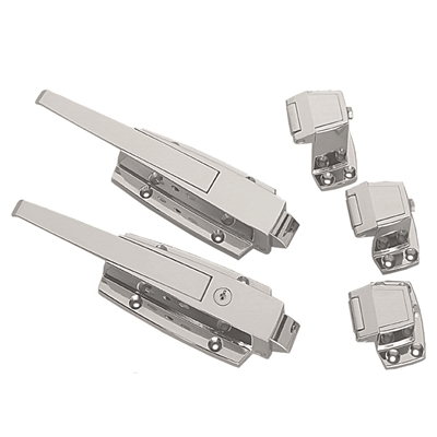 Safety Latch for Walk-In Refrigerators & Freezers - Heavy Duty - Polished Chrome - No cylinder lock - Die Pat
