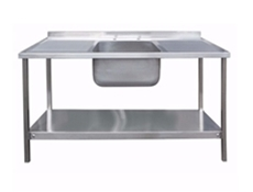 Commercial Sink Unit - 1500 x 600 Single Bowl, Double Drainer