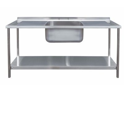 Commercial Sink Unit - 1800 x 650 Single Bowl, Double Drainer