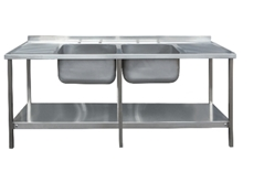 Commercial Sink Unit - 1800 x 650 Double Bowl, Double Drainer