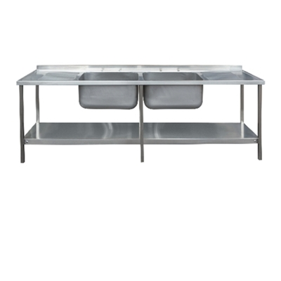 Commercial Sink Unit - 2400 x 650 Double Bowl, Double Drainer