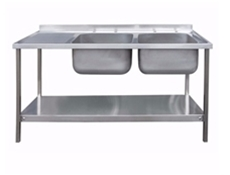 Commercial Sink Unit - 1500 x 600 Double Bowl, Single LH Drainer (2 x 500 x 400 bowls)