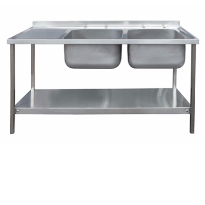 Commercial Sink Unit - 1500 x 600 Double Bowl, Single LH Drainer