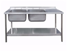 Commercial Sink Unit - 1500 x 600 Double Bowl, Single RH Drainer (2 x 500 x 400 bowls)