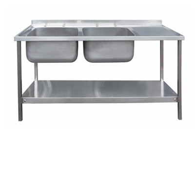 Commercial Sink Unit - 1500 x 600 Double Bowl, Single RH Drainer