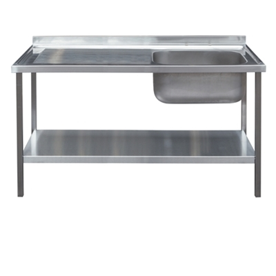 Commercial Sink Unit - 1200 x 650 Single Bowl, Single LH Drainer
