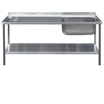 Commercial Sink Unit - 1500 x 650 Single Bowl, Single LH Drainer  - Die Pat